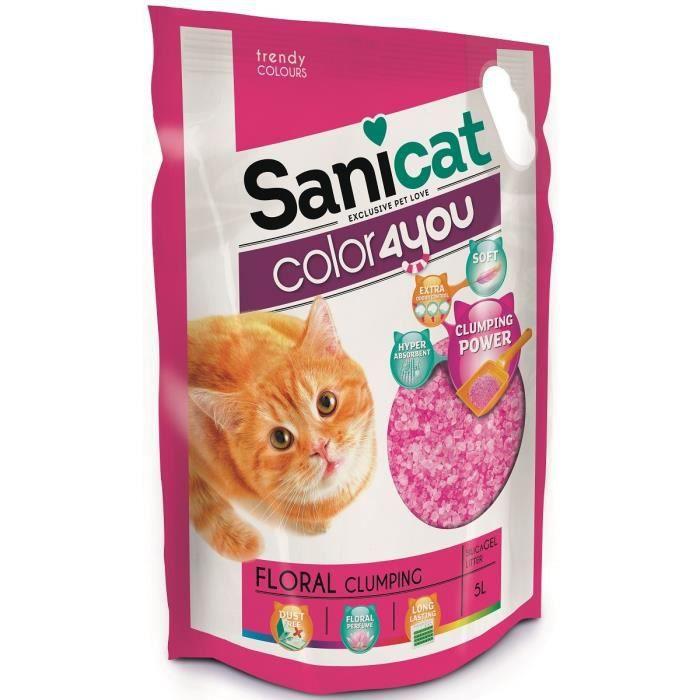 SANICAT Litière agglomérante au parfum floral 5L - Rose - Pour chat