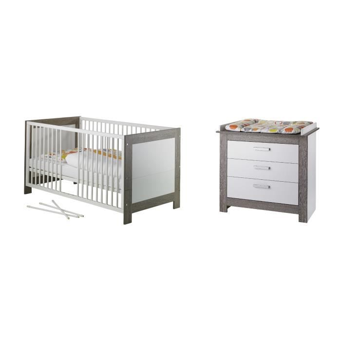 MARLENE Chambre bébé duo : lit 70*140cm + commode - blanc/cérusé