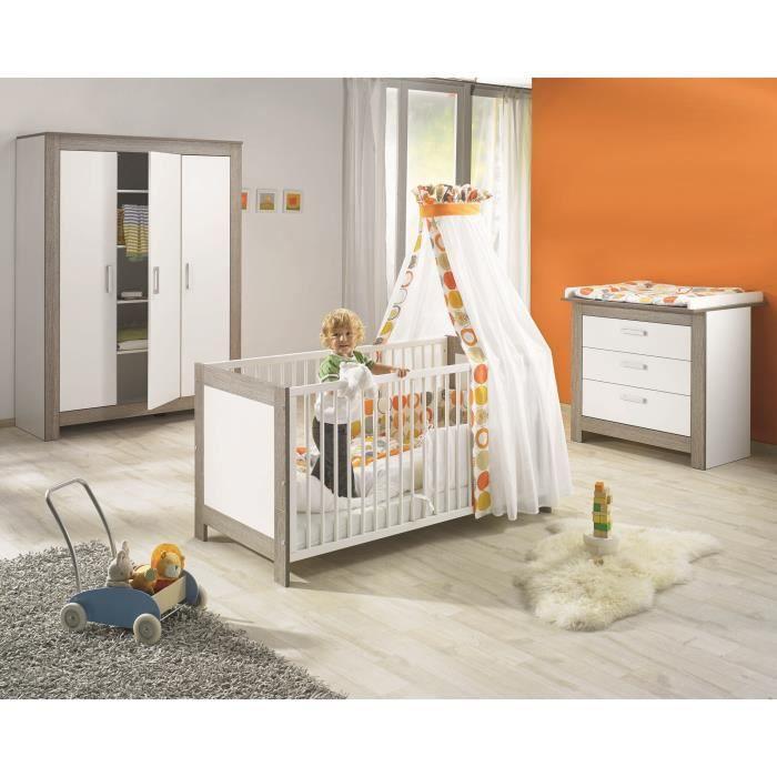 MARLENE Chambre bébé complète : lit 70*140cm + commode + armoire - blanc/cérusé