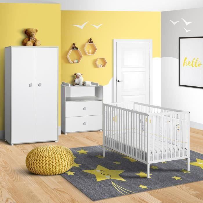 BABYPRICE CLEO Chambre complète bébé : lit 120*60cm + commode + armoire
