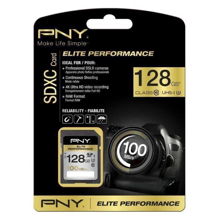 Pny Elite Performance Carte Mémoire Sdxc 128 Go Classe 10