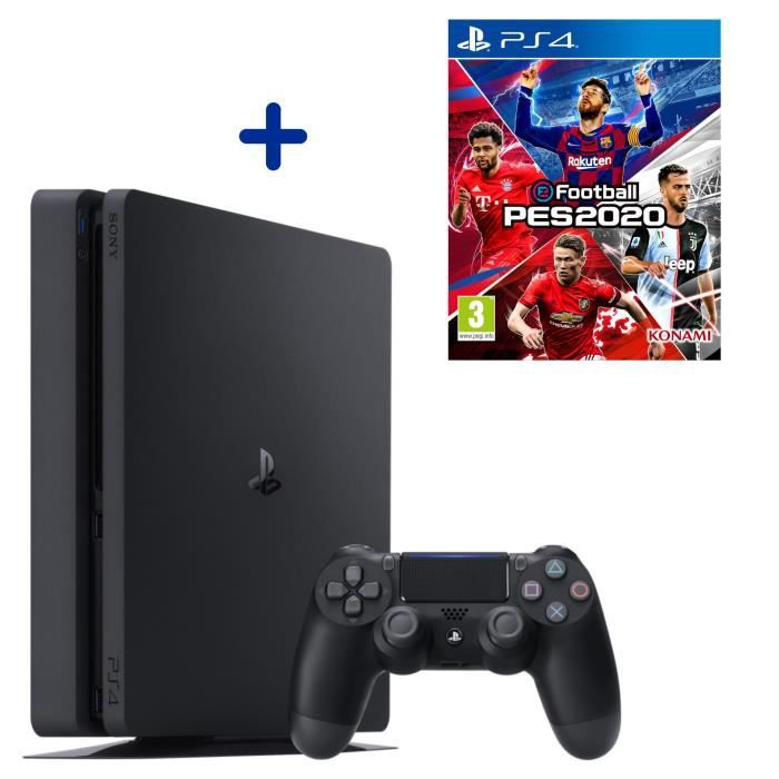 PS4 Slim 500 Go Noire + eFootball PES2020