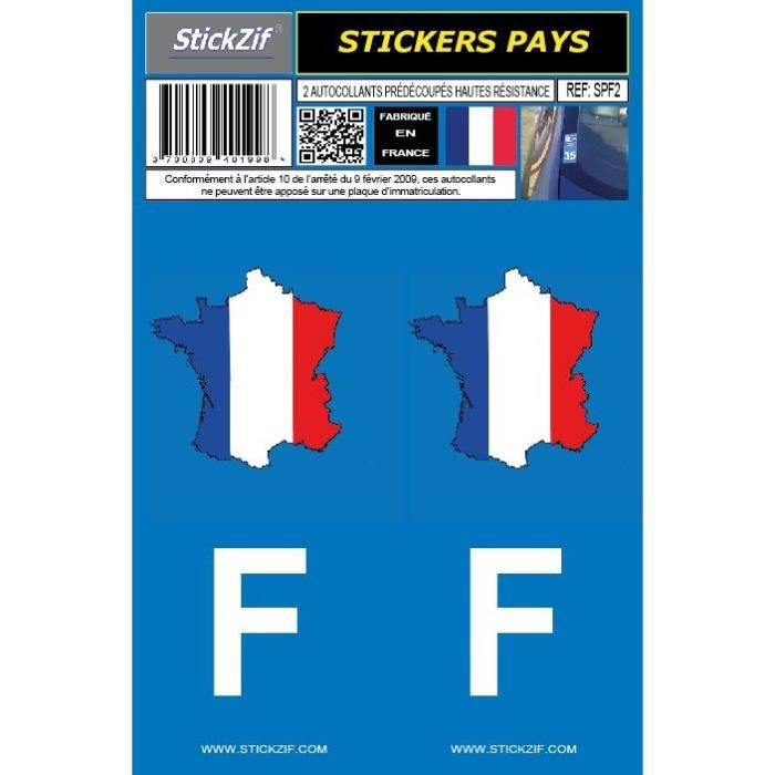 STICKZIF 2 Autocollants Pays Carte de France SPF2