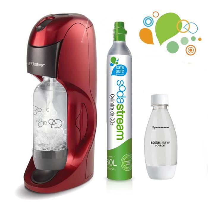SODASTREAM - Méga Pack Machine à soda Dynamo Rouge Plus +  1 bouteille 0,5L Fuse PET