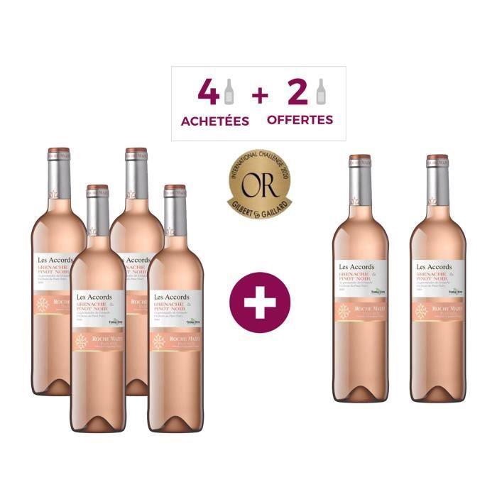 Les Accords de Roche Mazet Grenache & Pinot Noir Pays d'Oc - Vin rosé de Languedoc - 4 achétées + 2 offertes