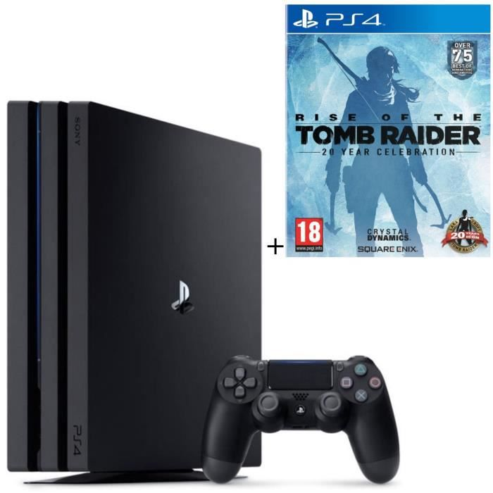 Pack PS4 Pro 1To Noire + Qui-es-tu ? (Jeu PlayLink à télécharger) + Rise Of The Tomb Raider 20 Year Celebration Jeu PS4