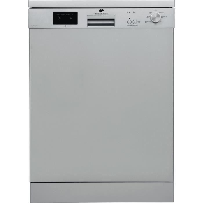 CONTINENTAL EDISON Lave-vaisselle - 13 couverts - A++ - 45 dB - 3 paniers - départ différé - L59,8 cm x H 85 cm - SILVER