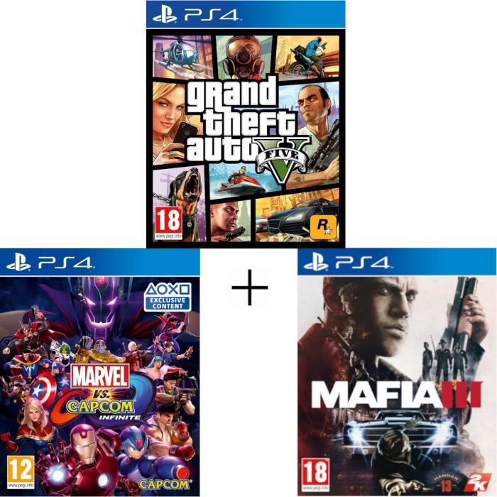 Pack 3 jeux: Mafia 3 Marvel vs Capcom Infinite GTA 5 - Jeux PS4