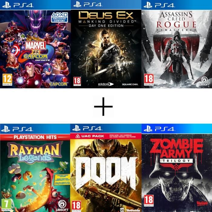 Pack 6 jeux: Marvel vs Capcom Deus Ex Assassin's Creed Rogue Remastered Rayman Legends Doom Pack UAC Zombie Army Tril. - Jeux PS4