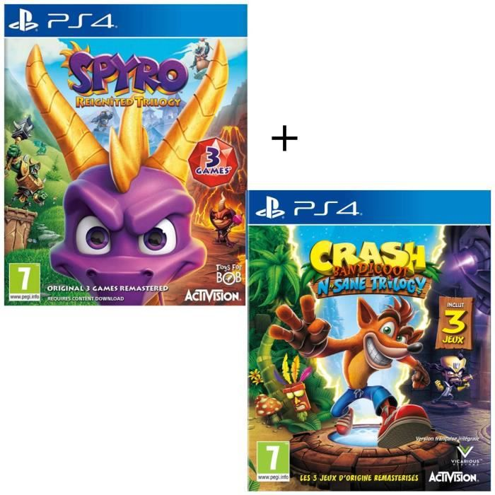 Pack 2 jeux PS4 : Spyro Reignited Trilogy + Crash Bandicoot N-SANE Trilogy
