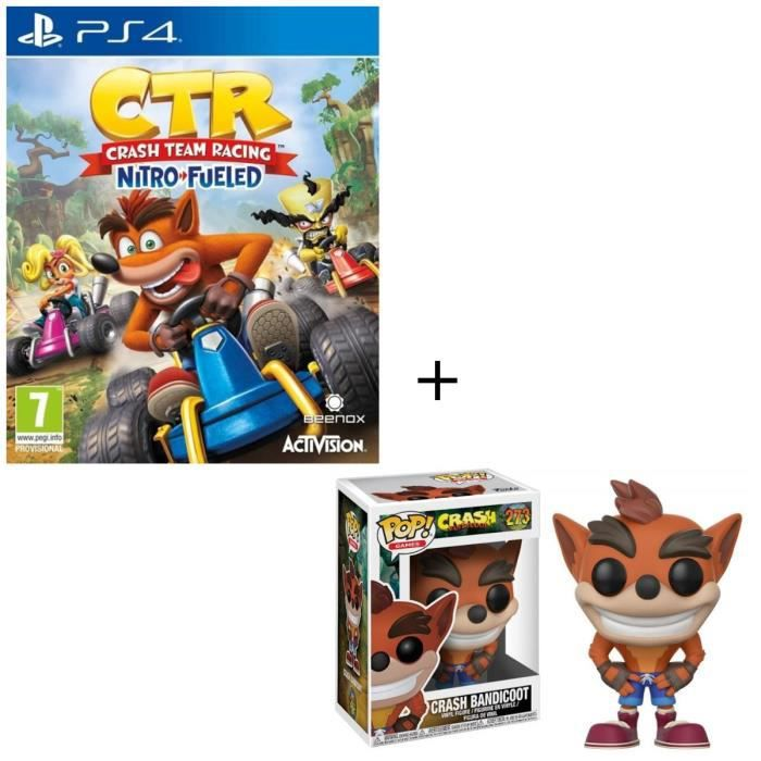 Pack Jeu PS4 Crash Team Racing Nitro Fueled + Figurine Funko Pop! Crash Bandicoot