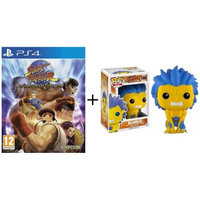 Pack Street Fighter: Jeu PS4 Street Fighter 30th Anniversary Collection + Figurine Funko Pop! Blanka Jaune