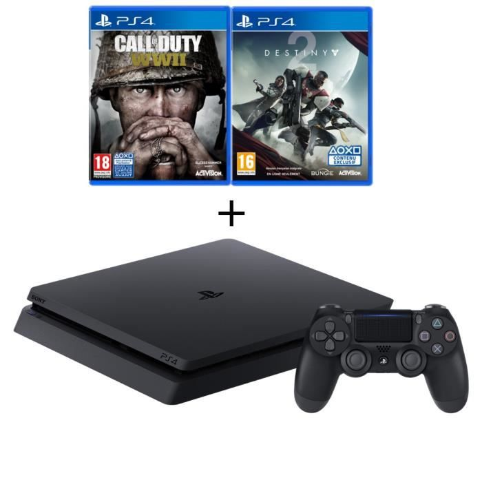 Nouvelle PS4 Slim 500 Go Noire + 3 Jeux : Call of Duty World War II + Destiny 2 + Qui-es-tu ? (Jeu PlayLink à télécharger)