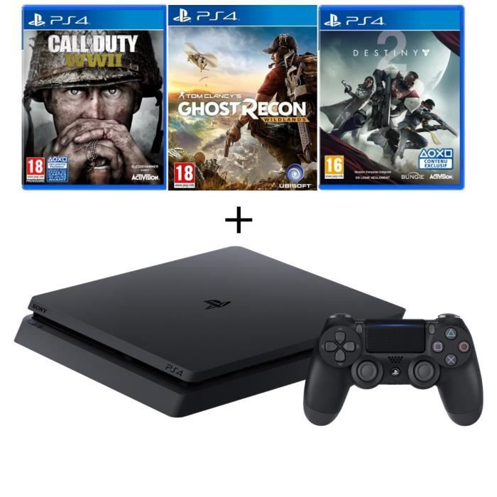 Nouvelle PS4 Slim 500 Go Noire + 4 Jeux : Call of Duty World War II + Ghost Recon + Destiny 2 + Qui-es-tu ? (Jeu à télécharger)