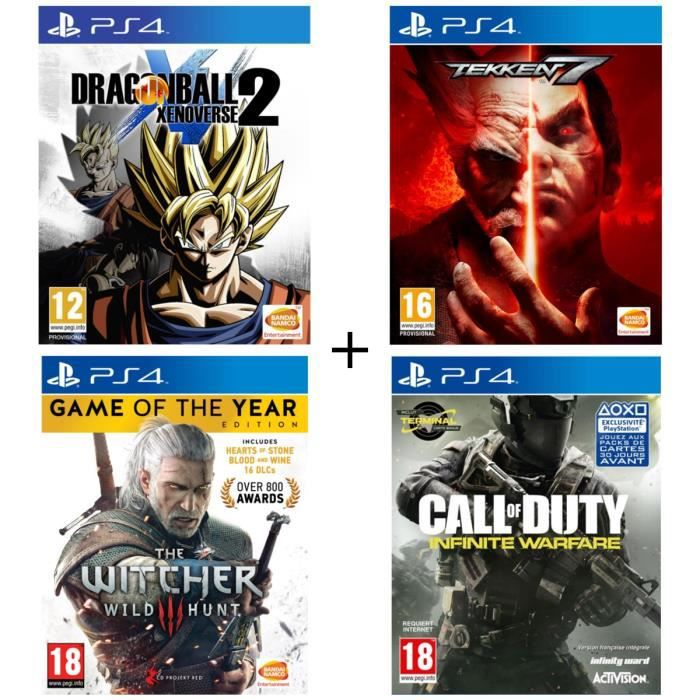 Pack 4 jeux PS4 : Dragon Ball Xenoverse 2 + Tekken 7 + The Witcher 3 + Call of Duty Infinite Warfare
