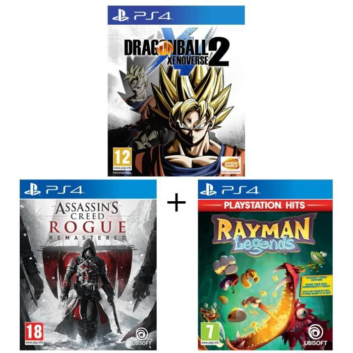 Pack 3 jeux PS4 : Dragon Ball Xenoverse 2 + Assassin's Creed Rogue Remastered + Rayman Legends