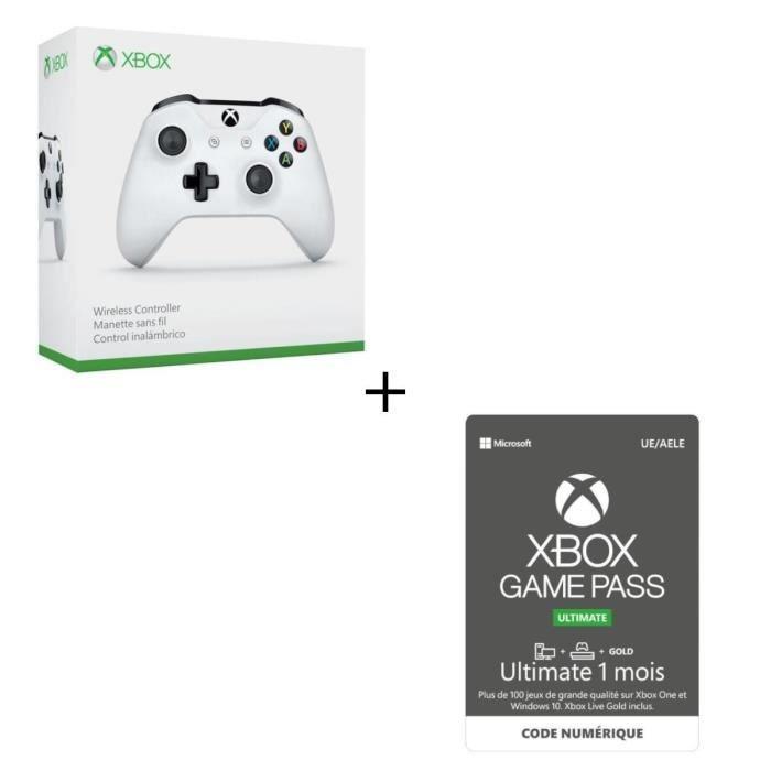 Manette Xbox Sans Fil Blanche + Abonnement Xbox Game Pass Ultimate 1 Mois - Code de Téléchargement pour Xbox One