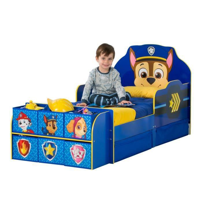 PAT PATROUILLE Lit Enfant Complet avec Rangement - Bleu