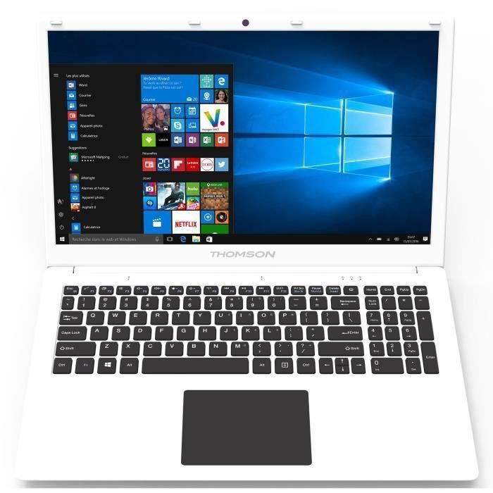THOMSON PC Portable - 17'' HD+ - Celeron - RAM 8Go - Stockage 1To HDD - Windows 10 - Blanc