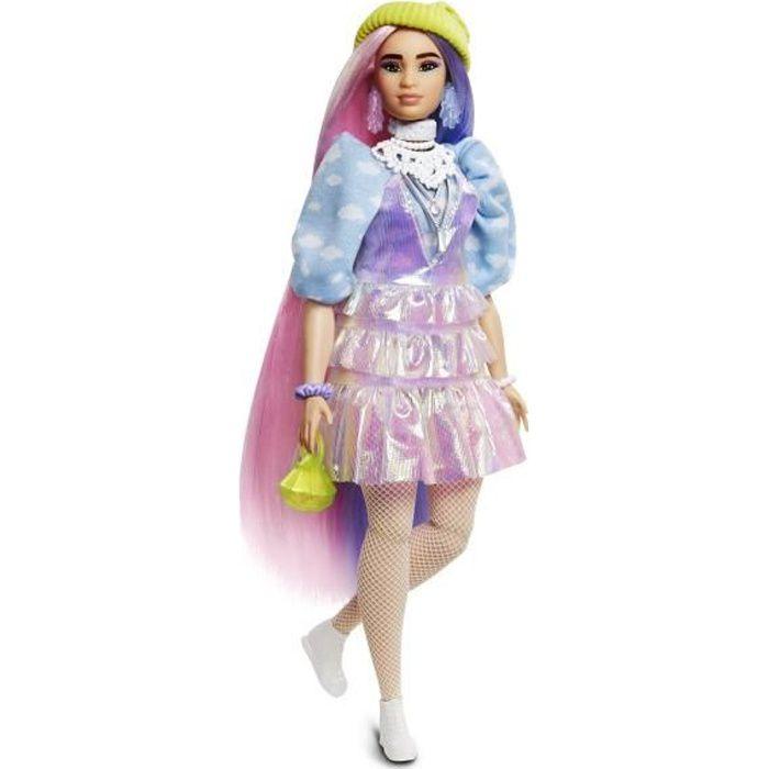 BARBIE EXTRA Bonnet Vert Cheveux Longs Mauve et Rose