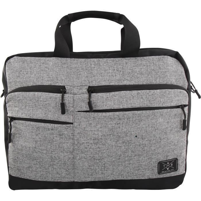 TNB Mallette Ordinateur Portable 15,6 pouces - multiples pochettes - sangle de voyage - gris chiné