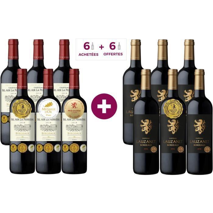 6 Château Lauzanet 2016 ACHETEES + 6 Château Bel Air La Perrière 2018 Bordeaux OFFERTES - Vin rouge de Bordeaux