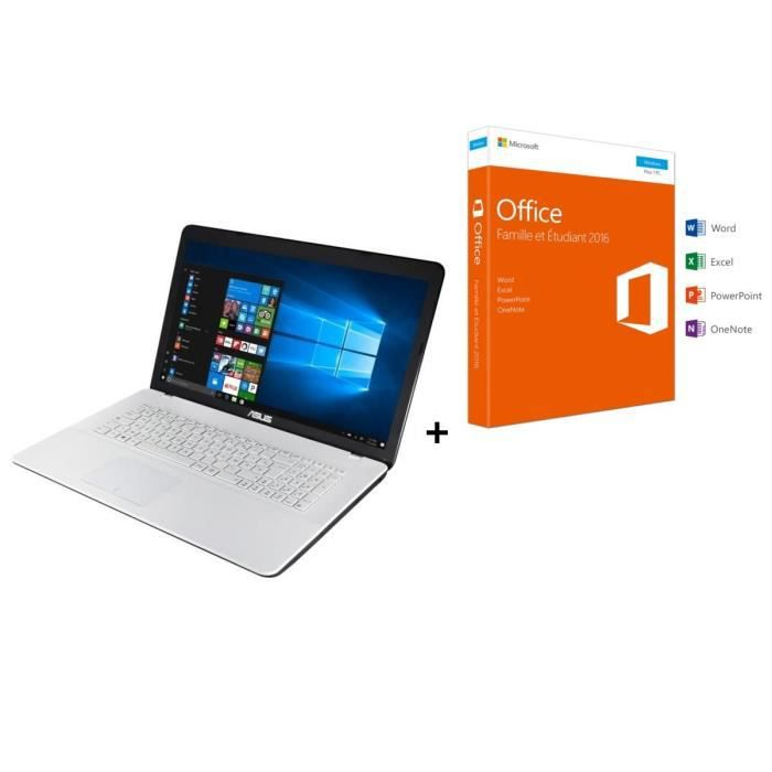 Asus pc portable f751na ty018t 173 4go de ram windows 10 intel pentium intel hd graphics disque dur 1to office