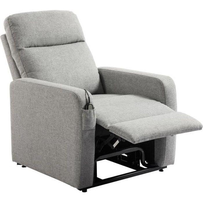 RELAX Fauteuil releveur de relaxation électrique - Tissu gris - Classique - L 76 x P 88 cm