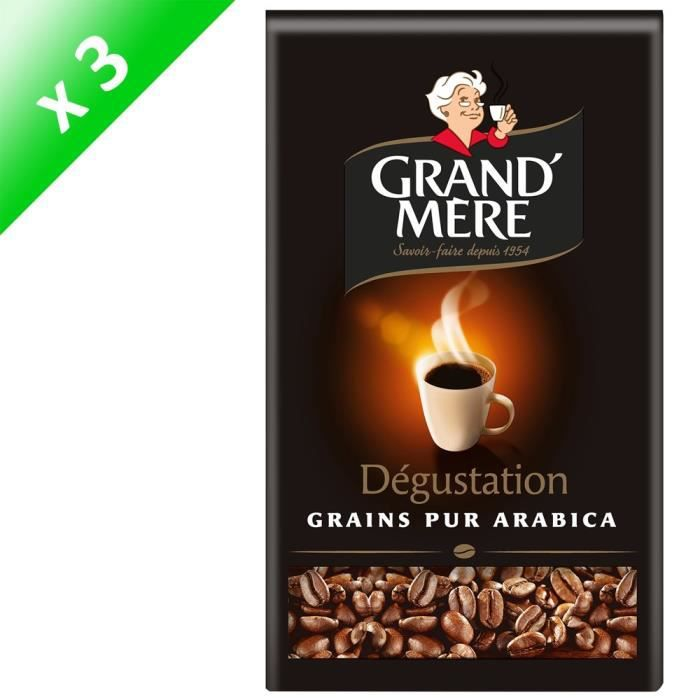 GRAND'MERE Café en grains Dégustation - 3 paquets de 500 g