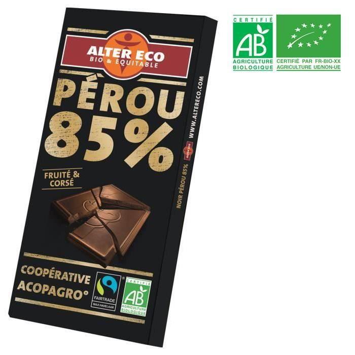 Chocolat noir 85% 100g Alter Eco