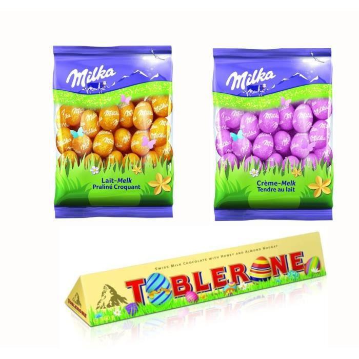 MILKA et TOBLERONE Chocolats de Pâques - Lot d'1 Barre de chocolat au Lait 360g et de 2 sachets de Petits Œufs Lait et Praliné 350g