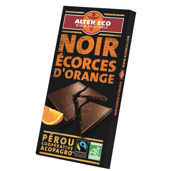 ALTER ECO Chocolat Noir Ecorces d'Orange - Bio - 100 g