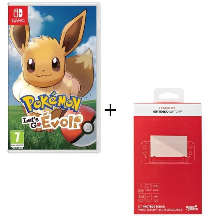 Pokémon : Let's go, Evoli + Kit protège écran verre trempé Nintendo Switch