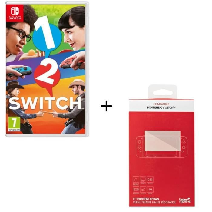 1-2-Switch Jeu Switch + Kit protège écran verre trempé Nintendo Switch