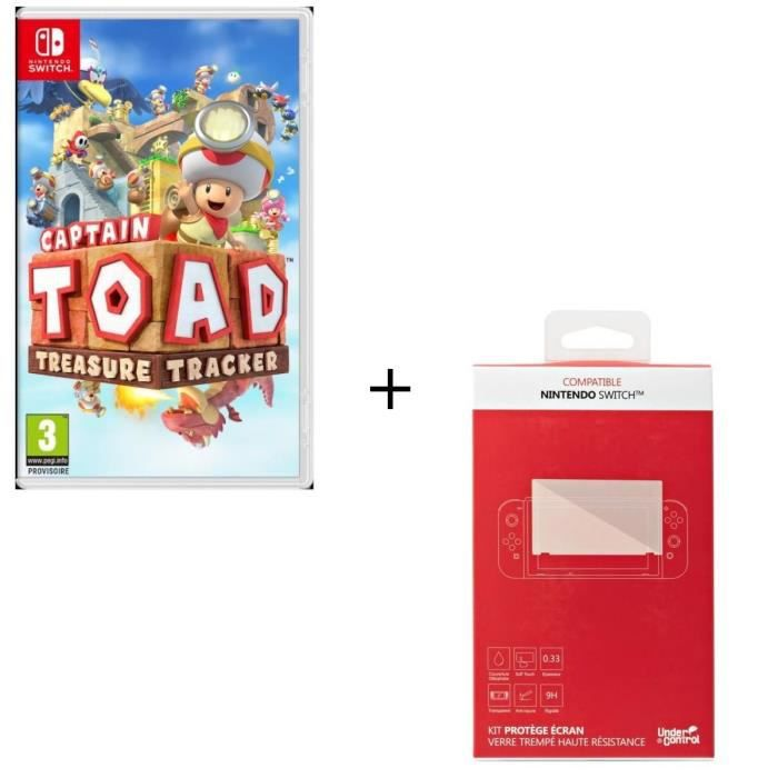 Captain Toad Jeu Switch + Kit protège écran verre trempé Nintendo Switch