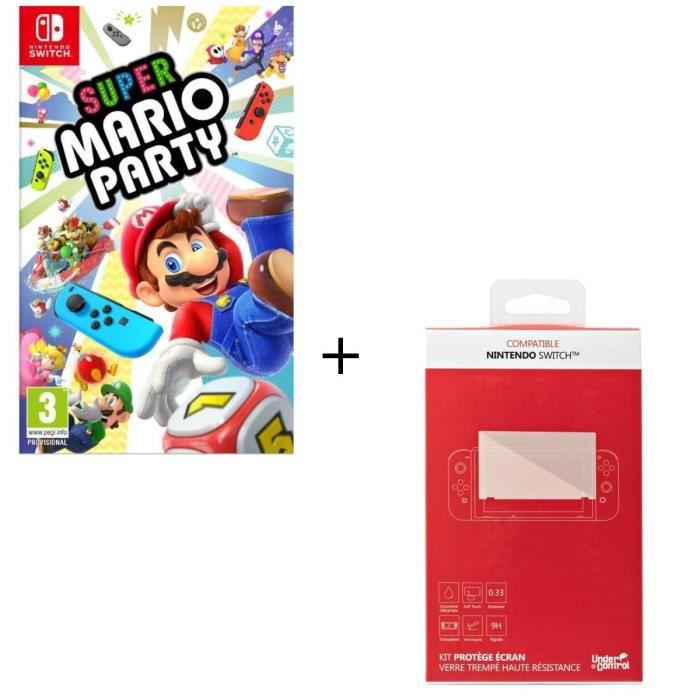 Super Mario Party + Kit protège écran verre trempé Nintendo Switch
