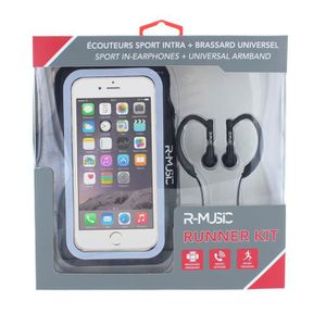 R-MUSIC Runner Kit - Ecouteurs intra-auriculaires filaires + Brassard universel pour smartphone - Noir