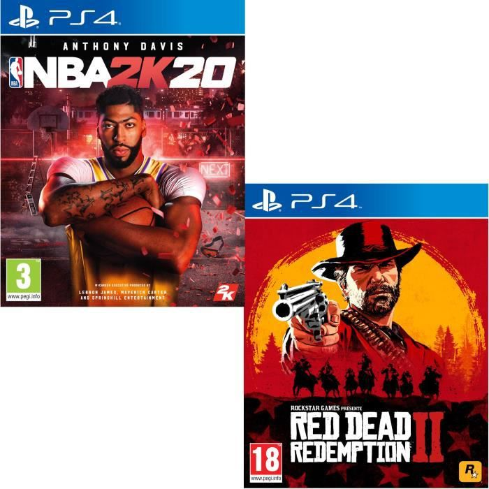 Pack PS4 : NBA 2K20 + Red Dead Redemption 2 Jeux PS4