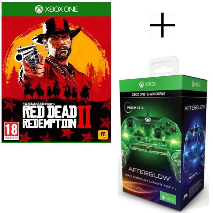 Red Dead Redemption 2 Jeu Xbox One + Manette filaire PDP Afterglow Prismatic