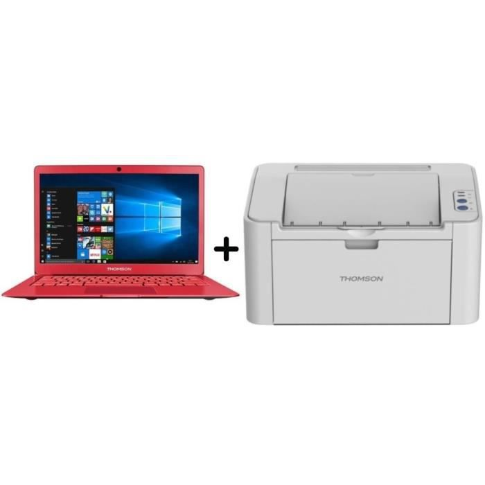 Thomson pc portable 133 intel celeron stockage 64 go windows 10 imprimante laser monochrome