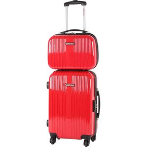 MURANO Valise Cabine 51 cm + Vanity 35 cm ABS & Polycarbonate BLC 4 Roues Rouge