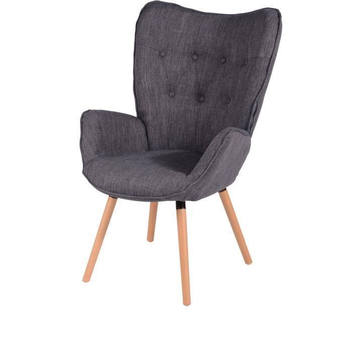 VIGGO Fauteuil - Tissu gris - Style scandinave - L 68 x P 73 cm