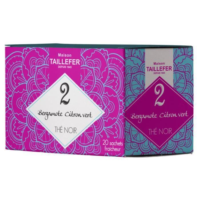 MAISON TAILLEFER Thé Noir Bergamote, Citron Vert en Boite de 20 Sachets Individuels