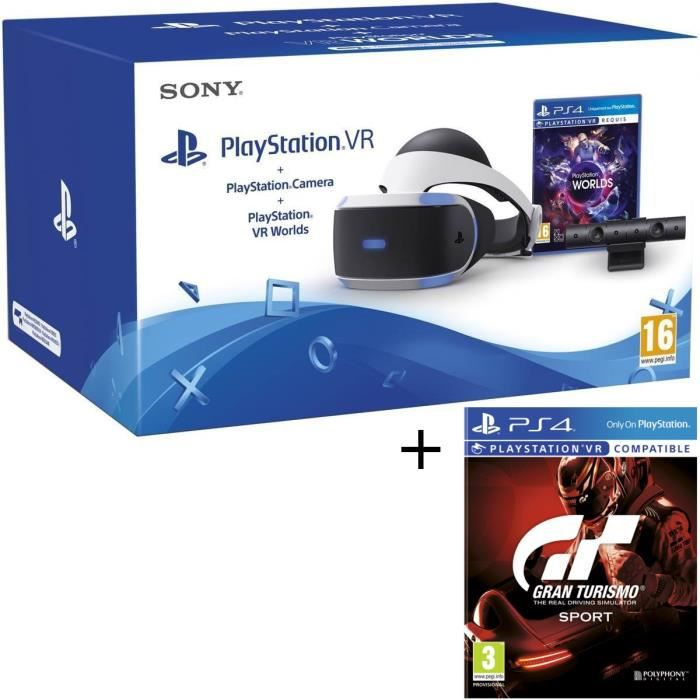 PlayStation VR + PlayStation Caméra + 2 Jeux PS4 : VR Worlds + Gran Turismo Sport