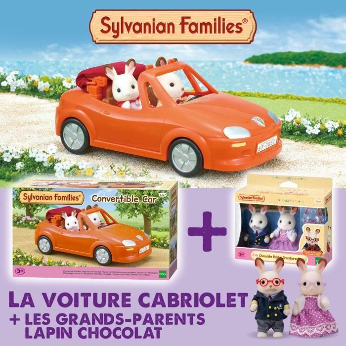 SYLVANIAN FAMILIES Voiture cabriolet 5227 + Les grands-parents lapin chocolat 5190 - Les véhicules