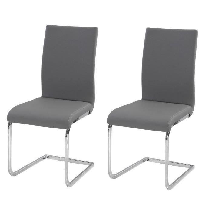 LEA Lot de 2 chaises de salle à manger - Simili gris - Style contemporain - L 43 x P 56 cm