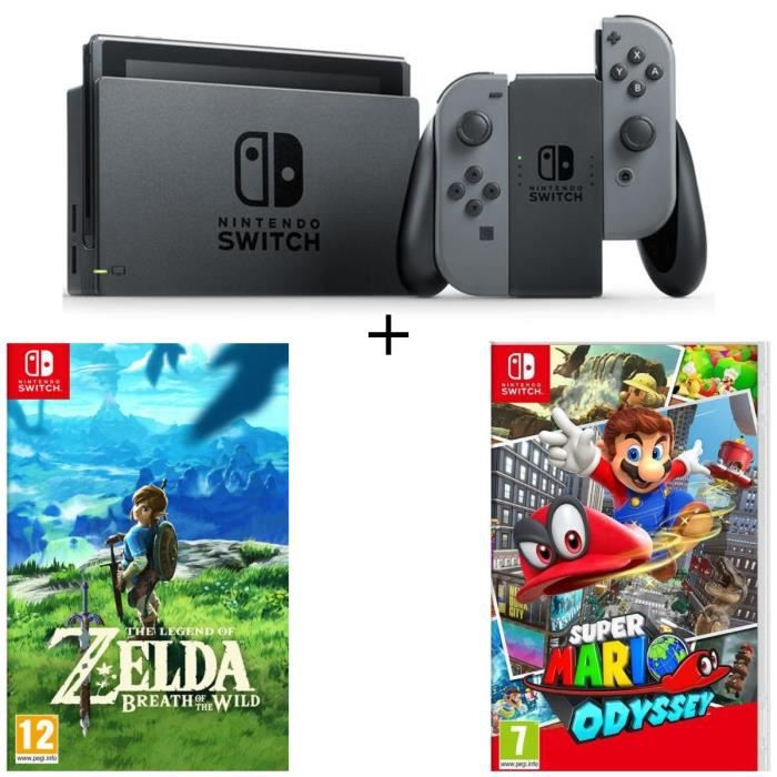Console Nintendo Switch avec paire de Joy-Con gris + The Legend of Zelda: Breath of the Wild + Super Mario Odyssey