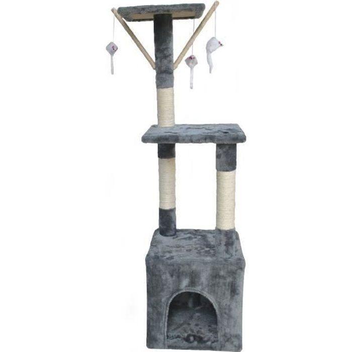 POILS & PLUMES Arbre à chat O'Malley - 30 x 30 x 110 cm - Gris