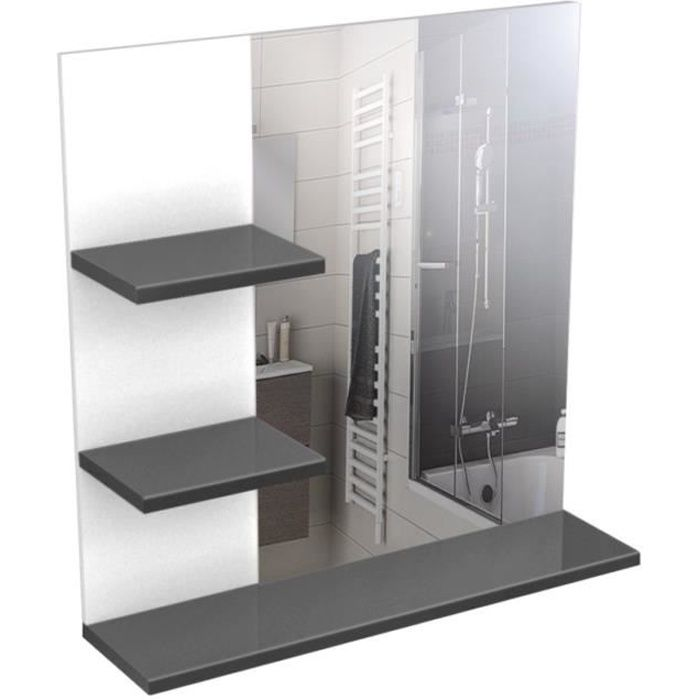 CORAIL Meuble miroir de salle de bain L 60 cm - Gris Laqué