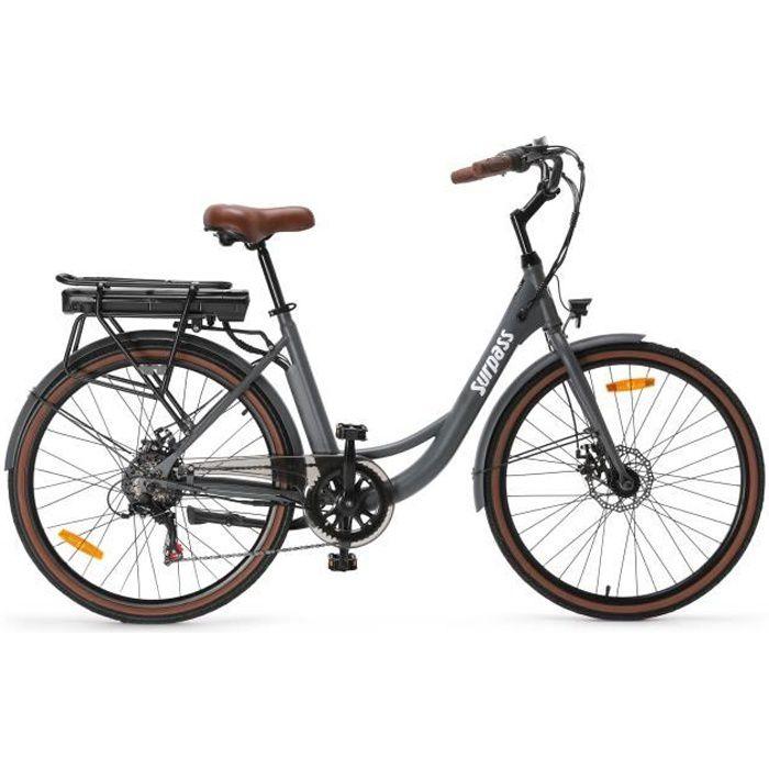 Vélo de ville électrique 26'' - Surpass - 6 vitesses Shimano - Freins à disque - 10 Ah - Gris